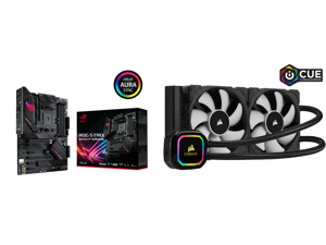 ASUS ROG STRIX B550-F GAMING AM4 ATX AMD Motherboard and CORSAIR iCUE H100i RGB PRO XT 240mm Radiator Dual 120mm PWM Fans Software Control Liquid CPU Cooler CW-9060043-WW