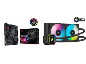 ASUS ROG STRIX B550-F GAMING AM4 ATX AMD Motherboard and Corsair Hydro Series iCUE H100i ELITE CAPELLIX 240mm Radiator Dual ML120 RGB PWM Fans Powerful iCUE Software Liquid CPU Cooler CW-9060046-WW