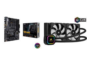 ASUS AM4 TUF Gaming X570-Plus (Wi-Fi) ATX Motherboard with PCIe 4.0 Dual M.2 12+2 with Dr. MOS Power Stage HDMI DP SATA 6Gb/s USB 3.2 Gen 2 and Aura Sync RGB Lighting and CORSAIR iCUE H100i RGB PRO XT 240mm Radiator Dual 120mm PWM Fans Soft