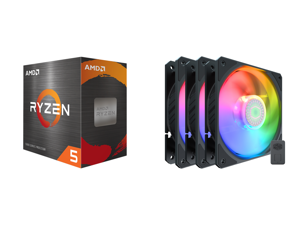 AMD Ryzen 5 5600X 3.7 GHz Socket AM4 100-100000065BOX Desktop Processor and Cooler Master SickleFlow 120 V2 Addressable RGB 3 in 1 Square Frame Fan Individually Customizable LEDS Air Balance Curve Blade Design Sealed Bearing PWM Control for