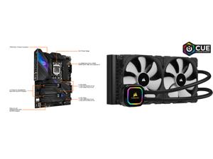 ASUS ROG STRIX Z590-E GAMING WIFI LGA 1200 ATX Intel Motherboard and CORSAIR iCUE H115i RGB PRO XT 280mm Radiator Dual 140mm PWM Fans Software Control Liquid CPU Cooler CW-9060044-WW