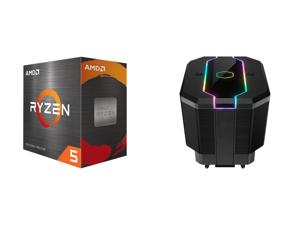 AMD Ryzen 5 5600X 3.7 GHz Socket AM4 100-100000065BOX Desktop Processor and Cooler Master MasterAir MA620M Dual Tower ARGB High Performance CPU Air Cooler 6 CDC 2.0 Heatpipes SF120R Fan Hexagon Strip Addressable RGB Lighting for AMD Ryzen/I