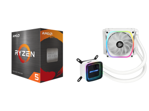 AMD Ryzen 5 5600X - Ryzen 5 5000 Series Vermeer (Zen 3) 6-Core 3.7 GHz Socket AM4 65W Desktop Processor - 100-100000065BOX and Enermax AQUAFUSION 120 Addressable RGB All-in-one CPU Liquid Cooler for AM4 / LGA1200 120mm Radiator Dual-Chamber