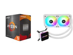 AMD Ryzen 5 5600X - Ryzen 5 5000 Series Vermeer (Zen 3) 6-Core 3.7 GHz Socket AM4 65W Desktop Processor - 100-100000065BOX and Enermax LIQMAX III ARGB 240 for AM4 / LGA1200 240mm Radiator Dual-Chamber Water Block Addressable RGB All-in-one