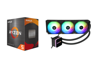 AMD Ryzen 5 5600X - Ryzen 5 5000 Series Vermeer (Zen 3) 6-Core 3.7 GHz Socket AM4 65W Desktop Processor - 100-100000065BOX and Enermax LIQMAX III ARGB 360 Addressable RGB All-in-one CPU Liquid Cooler for AM4 / LGA1200 360mm Radiator Dual-Ch