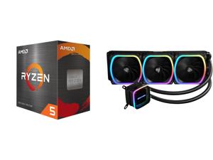 AMD Ryzen 5 5600X - Ryzen 5 5000 Series Vermeer (Zen 3) 6-Core 3.7 GHz Socket AM4 65W Desktop Processor - 100-100000065BOX and Enermax AQUAFUSION 360 Addressable RGB All-in-one CPU Liquid Cooler for AM4 / LGA 1200 360mm Radiator Dual-Chambe
