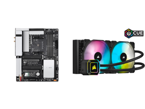 GIGABYTE B550 VISION D-P AM4 AMD B550 ATX Motherboard with Dual M.2 SATA 6Gb/s USB 3.2 Type-C with Thunderbolt 3 WIFI 6 Dual 2.5GbE LAN PCIe 4.0 and Corsair Hydro Series iCUE H115i ELITE CAPELLIX 280mm Radiator Dual ML140 RGB PWM Fans Power