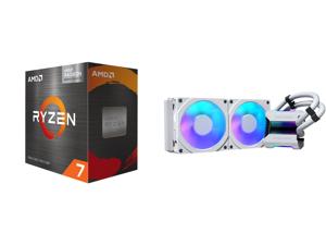 AMD Ryzen 7 5700G - Ryzen 7 5000 G-Series Cezanne (Zen 3) 8-Core 3.8 GHz Socket AM4 65W AMD Radeon Graphics Desktop Processor - 100-100000263BOX and Phanteks Glacier One 240MPH D-RGB AIO Liquid CPU Cooler Infinity Mirror Pump Cap Design 2x