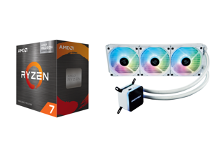 AMD Ryzen 7 5700G 3.8 GHz Socket AM4 100-100000263BOX Desktop Processor and Enermax LIQMAX III ARGB 360 Addressable RGB All-in-one CPU Liquid Cooler for AM4 / LGA1200 360mm Radiator Dual-Chamber Water Block ARGB Fan White 5 Year Warranty