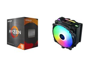 AMD Ryzen 9 5900X - Ryzen 9 5000 Series Vermeer (Zen 3) 12-Core 3.7 GHz Socket AM4 105W Desktop Processor - 100-100000061WOF and Enermax ETS-F40 Addressable RGB CPU Air Cooler 200W+ TDP for Intel/AMD Universal Socket 4 Direct Contact Heat P