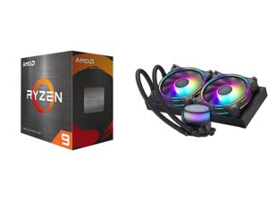 AMD Ryzen 9 5900X 3.7 GHz Socket AM4 100-100000061WOF Desktop Processor and CoolerMaster MasterLiquid ML240 Illusion Translucent Dome 3rd Gen Dual Chamber Pump 240 Radiator Dual MF120 Halo for AMD Ryzen/Intel 1200/1151 Close-Loop AIO CPU Li