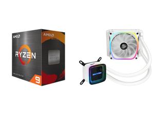 AMD Ryzen 9 5900X - Ryzen 9 5000 Series Vermeer (Zen 3) 12-Core 3.7 GHz Socket AM4 105W Desktop Processor - 100-100000061WOF and Enermax AQUAFUSION 120 Addressable RGB All-in-one CPU Liquid Cooler for AM4 / LGA1200 120mm Radiator Dual-Chamb