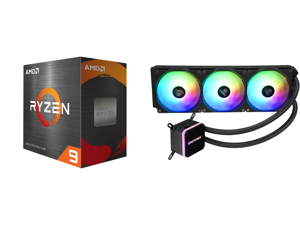 AMD Ryzen 9 5900X 3.7 GHz Socket AM4 100-100000061WOF Desktop Processor and Enermax LIQMAX III ARGB 360 Addressable RGB All-in-one CPU Liquid Cooler for AM4 / LGA1200 360mm Radiator Dual-Chamber Water Block ARGB Fan 5 Year Warranty