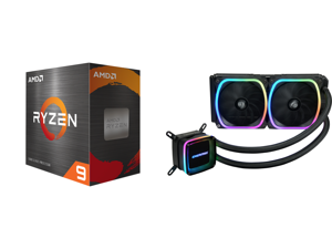 AMD Ryzen 9 5900X 3.7 GHz Socket AM4 100-100000061WOF Desktop Processor and Enermax AQUAFUSION 240 Addressable RGB All-in-one CPU Liquid Cooler for AM4 / LGA1200 240mm Radiator Dual-Chamber Water Block SquA RGB Fan 5 Year Warranty