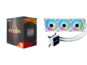 AMD Ryzen 9 5900X 3.7 GHz Socket AM4 100-100000061WOF Desktop Processor and Enermax LIQMAX III ARGB 360 Addressable RGB All-in-one CPU Liquid Cooler for AM4 / LGA1200 360mm Radiator Dual-Chamber Water Block ARGB Fan White 5 Year Warranty