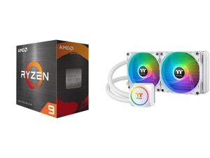 AMD Ryzen 9 5900X 3.7 GHz Socket AM4 100-100000061WOF Desktop Processor and Thermaltake TH240 ARGB Snow Edition AMD/Intel LGA1200 Ready All-in-One Liquid Cooling System 240mm High Efficiency Radiator CPU Cooler CL-W301-PL12SW-A