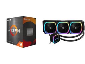 AMD Ryzen 9 5900X 3.7 GHz Socket AM4 100-100000061WOF Desktop Processor and Enermax AQUAFUSION 360 Addressable RGB All-in-one CPU Liquid Cooler for AM4 / LGA 1200 360mm Radiator Dual-Chamber Water Block SquA RGB Fans 5 Year Warranty