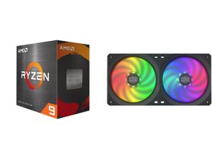 AMD Ryzen 9 5900X - Ryzen 9 5000 Series Vermeer (Zen 3) 12-Core 3.7 GHz Socket AM4 105W Desktop Processor - 100-100000061WOF and COOLERMASTER MFX-B2D2-18NPA-R1 MasterFan SF240R ARGB Fan