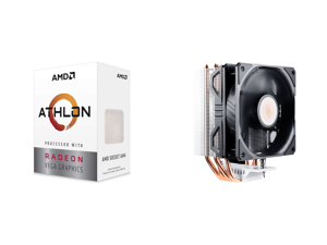 AMD Athlon 3000G Picasso (Zen+) 3.5GHz Dual-Core Unlocked OC AM4 Processor with Vega 3 Graphics and Cooler Master Hyper 212 EVO V2 CPU Air Cooler with SickleFlow 120 PWM Fan Direct Contact Technology 4 copper Heat Pipes for AMD Ryzen/Intel