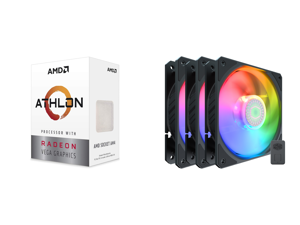 AMD Athlon 3000G Picasso (Zen+) 3.5GHz Dual-Core Unlocked OC AM4 Processor with Vega 3 Graphics and Cooler Master SickleFlow 120 V2 Addressable RGB 3 in 1 Square Frame Fan Individually Customizable LEDS Air Balance Curve Blade Design Sealed