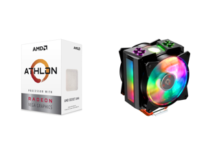 AMD Athlon 3000G Picasso (Zen+) 3.5GHz Dual-Core Unlocked OC AM4 Processor with Vega 3 Graphics and Cooler Master MasterAir MA410M Addressable RGB CPU Air Cooler w/ Independently LEDs 4 Continuous Direct Contact 2.0 Heatpipes Aluminum Fins