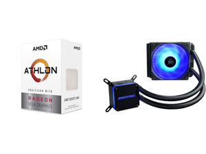 AMD Athlon 3000G Picasso (Zen+) 3.5GHz Dual-Core Unlocked OC AM4 Processor with Vega 3 Graphics and Enermax LIQMAX III RGB 120 All-in-one CPU Liquid Cooler for AM4 / LGA1200 120mm Radiator Dual-Chamber Water Block RGB Fan