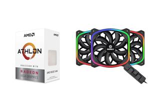 AMD Athlon 3000G Picasso (Zen+) 3.5GHz Dual-Core Unlocked OC AM4 Processor with Vega 3 Graphics and Enermax SquA RGB PWM 120mm Case Fan Addressable RGB Sync Via Motherboard w/ RGB Control Box 3 Fan Pack - Black UCSQARGB12P-BP3