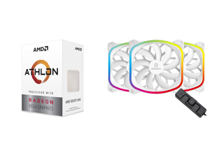 AMD Athlon 3000G Picasso (Zen+) 3.5GHz Dual-Core Unlocked OC AM4 Processor with Vega 3 Graphics and Enermax SquA RGB PWM 120mm Case Fan Addressable RGB Sync Via Motherboard w/ RGB Control Box 3 Fan Pack - White UCSQARGB12P-WP3