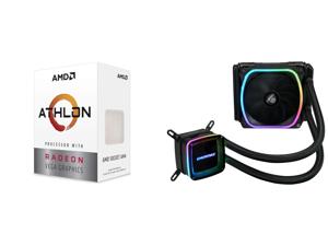 AMD Athlon 3000G Picasso (Zen+) 3.5GHz Dual-Core Unlocked OC AM4 Processor with Vega 3 Graphics and Enermax AQUAFUSION 120 Addressable RGB All-in-one CPU Liquid Cooler for AM4 / LGA1200 120mm Radiator Dual-Chamber Water Block SquA RGB Fan 5