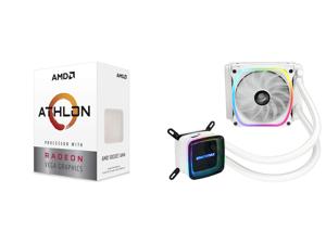 AMD Athlon 3000G Picasso (Zen+) 3.5GHz Dual-Core Unlocked OC AM4 Processor with Vega 3 Graphics and Enermax AQUAFUSION 120 Addressable RGB All-in-one CPU Liquid Cooler for AM4 / LGA1200 120mm Radiator Dual-Chamber Water Block SquA RGB Fan W