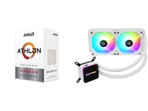 AMD Athlon 3000G Picasso (Zen+) 3.5GHz Dual-Core Unlocked OC AM4 Processor with Vega 3 Graphics and Enermax LIQMAX III ARGB 240 for AM4 / LGA1200 240mm Radiator Dual-Chamber Water Block Addressable RGB All-in-one CPU White Liquid Cooler