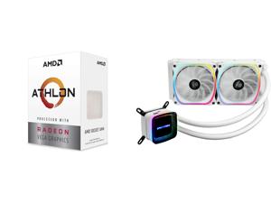 AMD Athlon 3000G Picasso (Zen+) 3.5GHz Dual-Core Unlocked OC AM4 Processor with Vega 3 Graphics and Enermax AQUAFUSION 240 Addressable RGB All-in-one CPU Liquid Cooler for AM4 / LGA1200 240mm Radiator Dual-Chamber Water Block SquA RGB Fan W