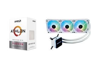 AMD Athlon 3000G 3.5GHz Dual-Core Unlocked OC AM4 Processor with Vega 3 Graphics and Enermax LIQMAX III ARGB 360 Addressable RGB All-in-one CPU Liquid Cooler for AM4 / LGA1200 360mm Radiator Dual-Chamber Water Block ARGB Fan White 5 Year Wa