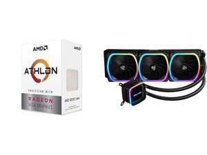 AMD Athlon 3000G 3.5GHz Dual-Core Unlocked OC AM4 Processor with Vega 3 Graphics and Enermax AQUAFUSION 360 Addressable RGB All-in-one CPU Liquid Cooler for AM4 / LGA 1200 360mm Radiator Dual-Chamber Water Block SquA RGB Fans 5 Year Warrant