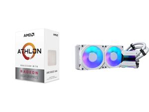 AMD Athlon 3000G Picasso (Zen+) 3.5GHz Dual-Core Unlocked OC AM4 Processor with Vega 3 Graphics and Phanteks Glacier One 240MPH D-RGB AIO Liquid CPU Cooler Infinity Mirror Pump Cap Design 2x Silent 120mm MP PWM Fans 2x D-RGB Halos Fan Frame