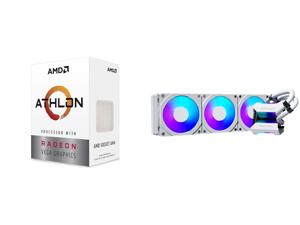 AMD Athlon 3000G Picasso (Zen+) 3.5GHz Dual-Core Unlocked OC AM4 Processor with Vega 3 Graphics and Phanteks Glacier One 360MPH D-RGB AIO Liquid CPU Cooler Infinity Mirror Pump Cap Design 3x Silent 120mm MP PWM Fans 3x D-RGB Halos Fan Frame