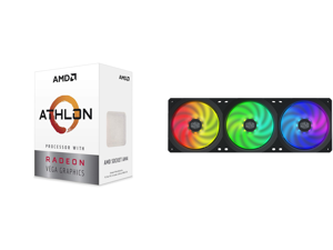 AMD Athlon 3000G Picasso (Zen+) 3.5GHz Dual-Core Unlocked OC AM4 Processor with Vega 3 Graphics and Cooler Master MasterFan SF360R ARGB 360mm Square Frame Fan