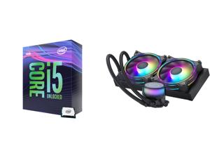 Intel Core i5-9600K Coffee Lake 6-Core 3.7 GHz (4.6 GHz Turbo) LGA 1151 (300 Series) 95W BX80684I59600K Desktop Processor Intel UHD Graphics 630 and CoolerMaster MasterLiquid ML240 Illusion Translucent Dome 3rd Gen Dual Chamber Pump 240 Rad