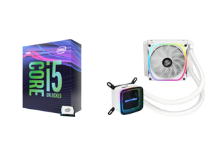 Intel Core i5-9600K Coffee Lake 6-Core 3.7 GHz (4.6 GHz Turbo) LGA 1151 (300 Series) 95W BX80684I59600K Desktop Processor Intel UHD Graphics 630 and Enermax AQUAFUSION 120 Addressable RGB All-in-one CPU Liquid Cooler for AM4 / LGA1200 120mm