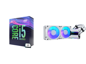 Intel Core i5-9600K Coffee Lake 6-Core 3.7 GHz (4.6 GHz Turbo) LGA 1151 (300 Series) 95W BX80684I59600K Desktop Processor Intel UHD Graphics 630 and Phanteks Glacier One 240MPH D-RGB AIO Liquid CPU Cooler Infinity Mirror Pump Cap Design 2x