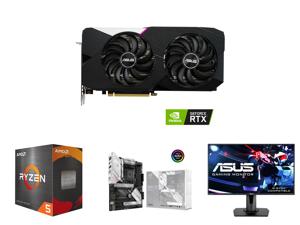 ASUS Dual GeForce RTX 3060 Ti 8GB GDDR6 PCI Express 4.0 Video Card DUAL-RTX3060TI-O8G-V2 and AMD Ryzen 5 5600X Vermeer 6-Core 3.7 GHz Socket AM4 65W 100-100000065BOX Desktop Processor and ASUS ROG STRIX B550-A GAMING AM4 AMD B550 SATA 6Gb/s