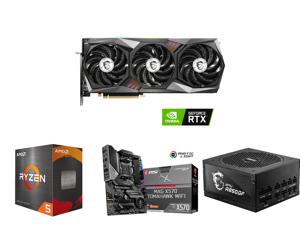 MSI Gaming GeForce RTX 3070 8GB GDDR6 PCI Express 4.0 Video Card 3070 GAMING Z TRIO 8G LHR and AMD Ryzen 5 5600X Vermeer 6-Core 3.7 GHz Socket AM4 65W 100-100000065BOX Desktop Processor and MSI MAG X570 TOMAHAWK WIFI AM4 AMD X570 SATA 6Gb/s