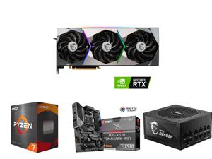MSI Suprim GeForce RTX 3070 8GB GDDR6 PCI Express 4.0 x16 Video Card RTX 3070 Suprim X 8G LHR and AMD Ryzen 7 5800X Vermeer 8-Core 3.8 GHz Socket AM4 105W 100-100000063WOF Desktop Processor and MSI MAG X570 TOMAHAWK WIFI AM4 AMD X570 SATA 6