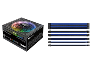 Thermaltake Toughpower iRGB Plus 1050W Digital SLI/CrossFire Ready Continuous Power Digital RGB LED Smart Zero Fan ATX12V v2.4 / SSI EPS v2.92 80 PLUS PLATINUM Certified Full Modular Power Supply and Thermaltake AC-035-CN1NAN-A1 11.81 in. (