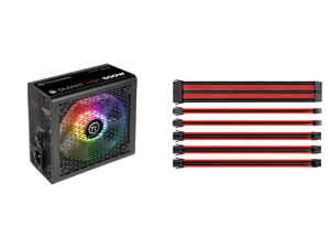 Thermaltake Smart RGB Series 500W SLI/CrossFire Ready Continuous Power ATX 12V V2.3 80 PLUS Certified 5 Year Warranty Active PFC Power Supply Haswell Ready PS-SPR-0500NHFAWU-1 and Thermaltake AC-033-CN1NAN-A1 11.81 in. (All Cables) TtMod Sl