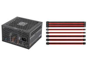 Thermaltake Toughpower GX1 600W PS-TPD-0600NNFAGU-1 Power Supply and Thermaltake AC-033-CN1NAN-A1 11.81 in. (All Cables) TtMod Sleeve Extension Power Supply Cable Kit ATX/EPS/8-pin PCI-E/6-pin PCI-E with Combs Red/Black