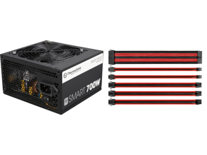 Thermaltake Smart Series 700W SLI / CrossFire Ready Continuous Power ATX12V V2.3 / EPS12V 80 PLUS Certified Active PFC Power Supply Haswell Ready PS-SPD-0700NPCWUS-W and Thermaltake AC-033-CN1NAN-A1 11.81 in. (All Cables) TtMod Sleeve Exten