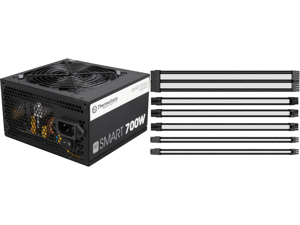 Thermaltake Smart Series 700W SLI / CrossFire Ready Continuous Power ATX12V V2.3 / EPS12V 80 PLUS Certified Active PFC Power Supply Haswell Ready PS-SPD-0700NPCWUS-W and Thermaltake AC-048-CN1NAN-A1 11.81 in. (30 cm) TtMod Sleeve Cable (Cab
