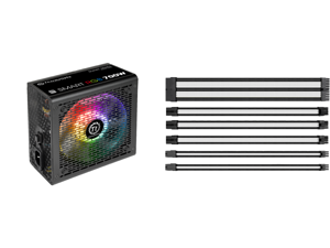 Thermaltake Smart RGB Series 700W SLI/CrossFire Ready Continuous Power ATX 12V V2.3 80 PLUS Certified 5 Year Warranty Active PFC Power Supply Haswell Ready PS-SPR-0700NHFAWU-1 and Thermaltake AC-048-CN1NAN-A1 11.81 in. (30 cm) TtMod Sleeve