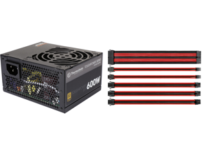 Thermaltake Toughpower SFX/ATX 600W SLI/CrossFire Ready Continuous Power 12V 3.3/ATX 12V 2.4 80 PLUS GOLD Certified Fully Modular Power Supply Skylake C6/C7 Ready PS-STP-0600FPCGUS-G and Thermaltake AC-033-CN1NAN-A1 11.81 in. (All Cables) T